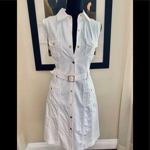 Calvin Klein white safari midi dress size 8